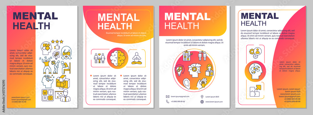 Fototapeta Mental health brochure template. Psychiatry flyer, booklet, leaflet print, cover design with linear icons. Psychological wellness. Vector layouts for magazines, annual reports, advertising posters