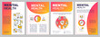 Mental health brochure template. Psychiatry flyer, booklet, leaflet print, cover design with linear icons. Psychological wellness. Vector layouts for magazines, annual reports, advertising posters