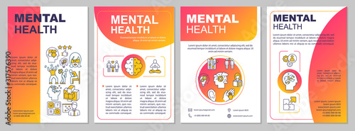 Fototapeta Mental health brochure template. Psychiatry flyer, booklet, leaflet print, cover design with linear icons. Psychological wellness. Vector layouts for magazines, annual reports, advertising posters obraz