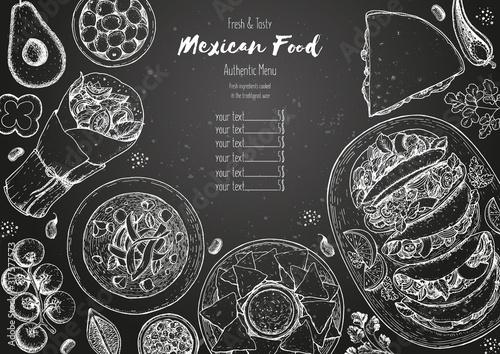 Cuadros en Lienzo Mexican food top view frame