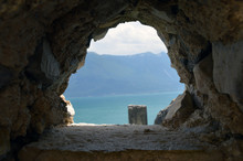 Garda Lake Through A Hole In ...