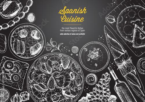 Photo Spanish cuisine top view frame