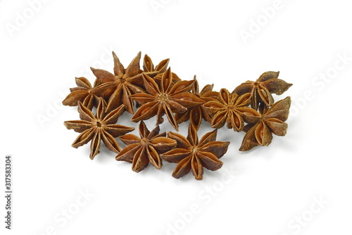 dry star anise fruits isolated on white Wallpaper Mural