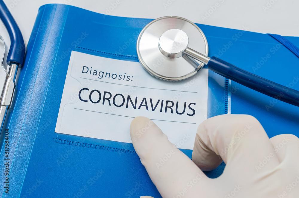 Fototapeta Novel coronavirus disease 2019-nCoV written on blue folder.