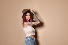 Beautiful Woman With Tattoos O...