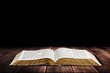 canvas print picture - Open vintage christian bible on background
