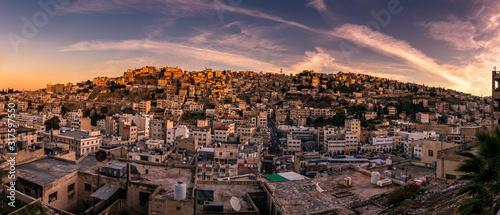 Amman Panorama Sonnenuntergang Wallpaper Mural