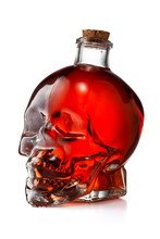 Glass Skull Bottle Filled With...