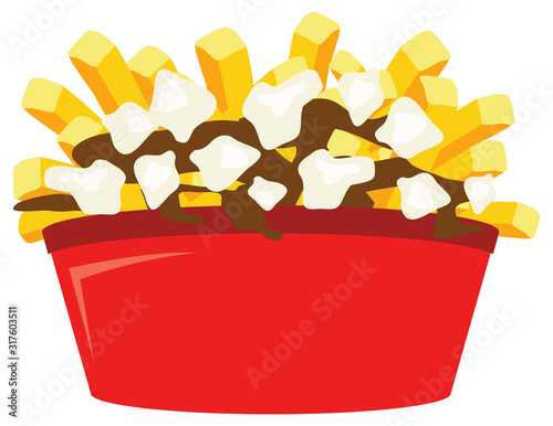 Poutine quebec meal french fries vector illustration