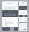 Landing page wireframe design for business. One page website layout template. Modern responsive design. Ux ui website: features, how it works, special benefits, testimonials, contact form.