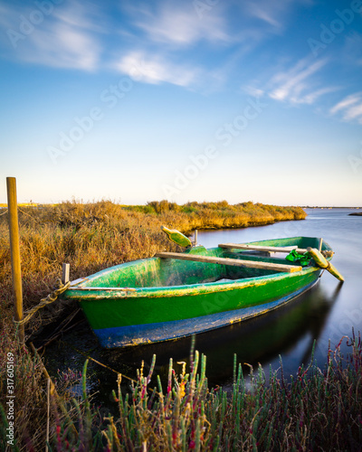 Green boat ashore with salicornia, salt lake near Cagliari, Sardinia Wallpaper Mural