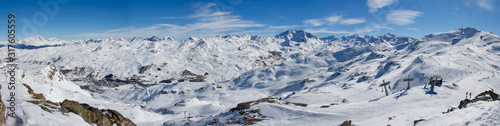 Photo Val thorens les menuires aiguille peclet panorama glacier view sunset snowy moun