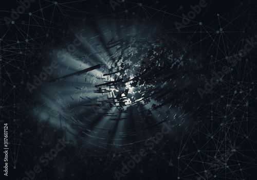 3D rendering of abstract technology concept background Wallpaper Mural