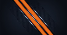 Abstract Orange Line Slash Speed Overlap On Dark Blue Background