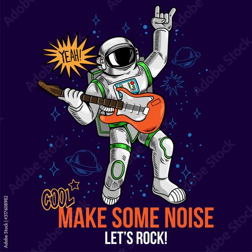 rock star astronaut play rock music Wallpaper Mural