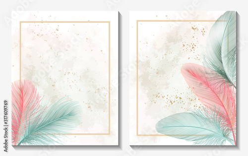 Fotografia Beautiful background with feather and space for text