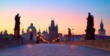 Prague At Night, Panoramic Ima...