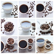 Coffee Beans Collage With Col...
