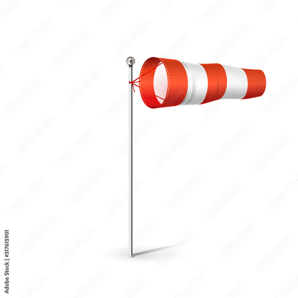 Fototapeta Airport Wind sock 3D realistic vector illustration. Red and white Wind flag showing wind direction and speed. Isolated on white.