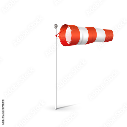 Obraz Airport Wind sock 3D realistic vector illustration. Red and white Wind flag showing wind direction and speed. Isolated on white. - fototapety do salonu
