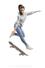 Girl In A Hoodie Jumping With A Skateboard