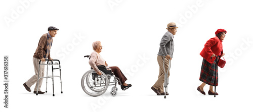 Fotografiet Group of senior people walking in a line with orthopedic equipment