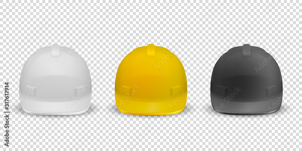 Fototapeta Vector 3d Realistic White, Yellow and Black Plastic Safety Helmet Icon Set Closeup Isolated on White Background. Head Protect, Construction, Repair. Design Template, Mockup. Stock Illustration