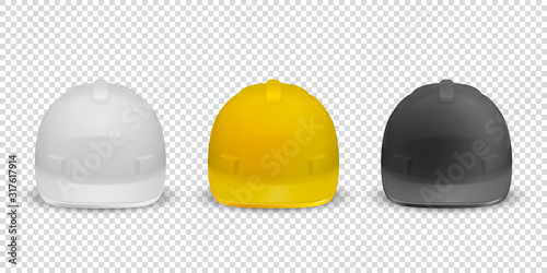 Obraz Vector 3d Realistic White, Yellow and Black Plastic Safety Helmet Icon Set Closeup Isolated on White Background. Head Protect, Construction, Repair. Design Template, Mockup. Stock Illustration - fototapety do salonu