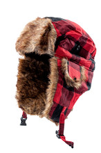Cold Weather Clothing Concept With Bomber Or Aviator Style Fur Hat Isolated On White Background With Clipping Path Cutout Using Ghost Mannequin Technique