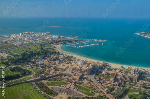 Stampa su Tela Bird's eye and aerial drone view of Abu Dhabi city from observation deck