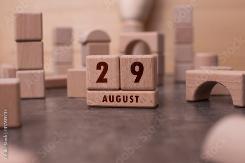 Fototapety, obrazy: August 29 written with wooden blocks