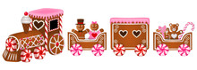 Isolated Gingerbread Train For Valentine's Day
