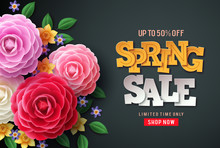 Spring Sale Vector Flowers Bac...