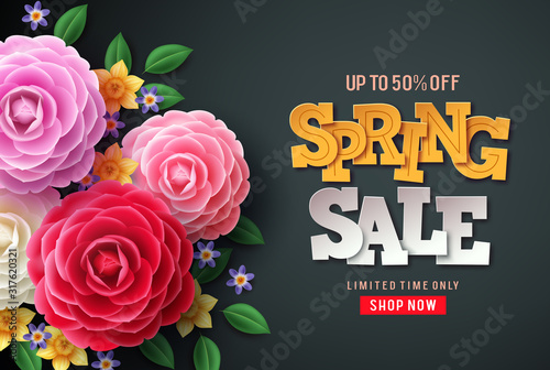 Obraz Spring sale vector flowers background. Spring sale text, colorful camellia flowers and crocus flowers in back background for spring seasonal promotion. - fototapety do salonu