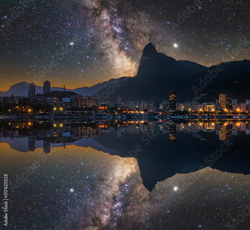 Beautiful panorama of Rio de Janeiro at night, Brazil Canvas Print