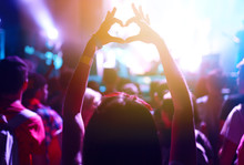 Heart Shaped Hands At Concert,...