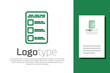 Green line Create account screen on mobile phone icon isolated on white background. Logo design template element. Vector Illustration
