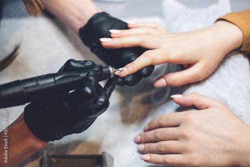Photo Beautician Salon, Manicure, Nails Polish Procedure