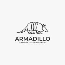 Vector Logo Illustration Armadillo Walking Line Art