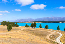 Panorama Of View Lake Pukaki And Mount Cook At South Island New Zealand, Summertime