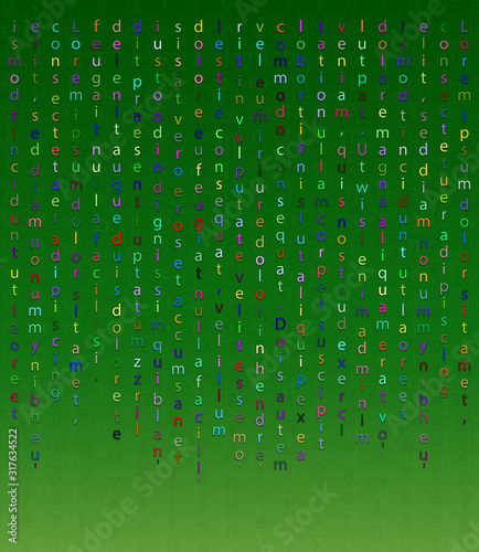 Falling letters on a green background in the Matrix style Canvas Print