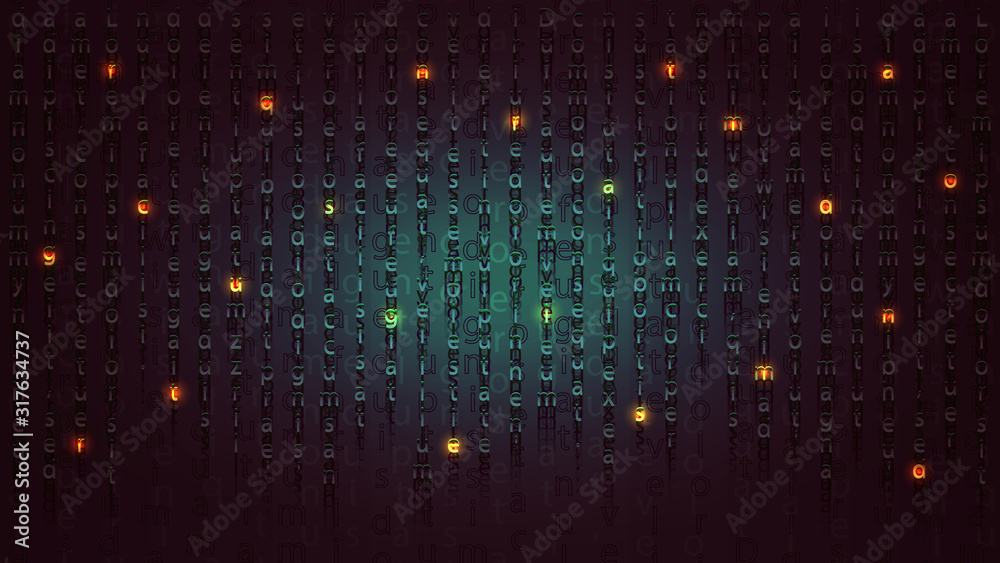 Fototapeta Mysterious message in the form of luminous letters