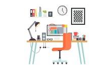 Work Desk,set Of Office Tools