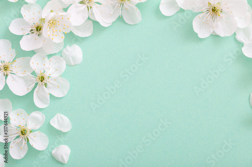 Obraz cherry flowers on paper background - fototapety do salonu