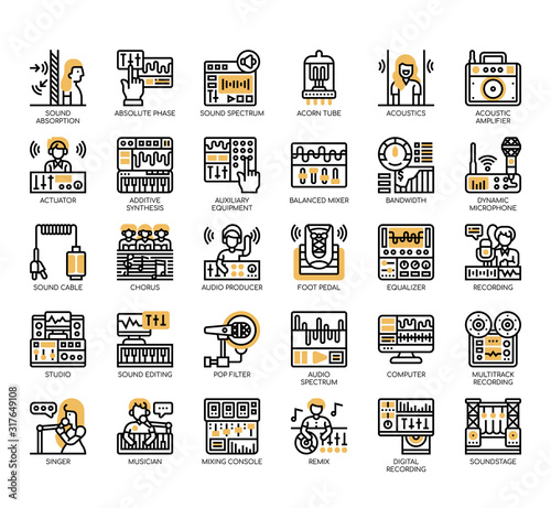 Photo Set of sound studio thin line and pixel perfect icons for any web and app project