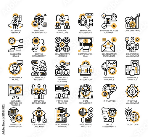Set of talent management thin line and pixel perfect icons for any web and app project Wallpaper Mural