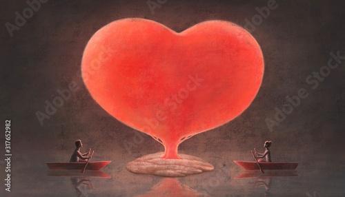 Love concept surreal painting Fotobehang