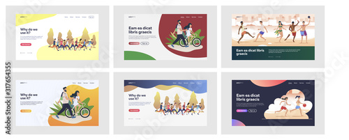 Obraz Set of sporty people doing activities outside. Flat vector illustrations of men and women making exercises outdoors. Sport and active lifestyle concept for banner, website design or landing web page - fototapety do salonu