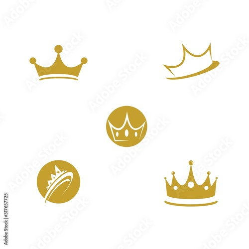 Set Crown Logo Template vector icon Canvas Print