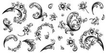 Flower Vintage Baroque Scroll Victorian Frame Border Floral Ornament Leaf Engraved Retro Pattern Rose Peony Decorative Design Tattoo Black And White Filigree Calligraphic Vector